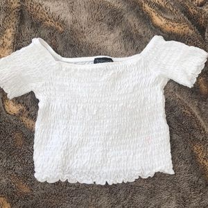 white off the shoulder ruffled crop top